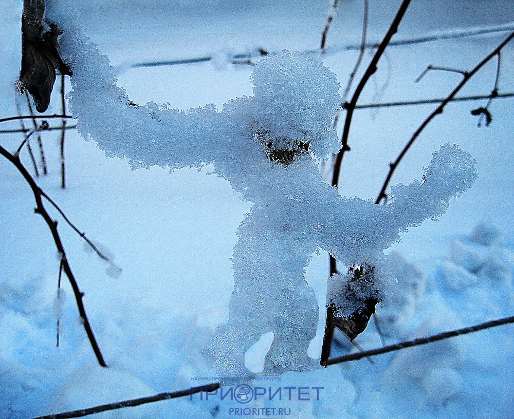 Снежный человечек идёт по жизни